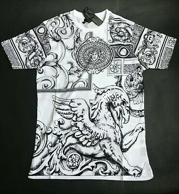 Versace Print Cotton White and Gray Anime Italy   Jersey T-shirt  Men's