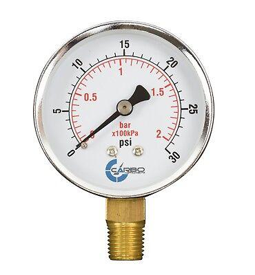 2-12 Pressure Gauge - Chrome Plated Steel Case 14npt Lower Mnt. 30 Psi