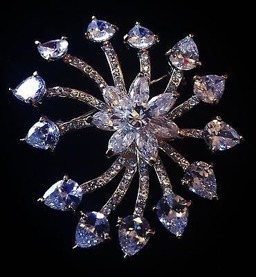 BROOCH PIN Using Swarovski Crystal Gemstone Fashion Wedding Bridal Silver New