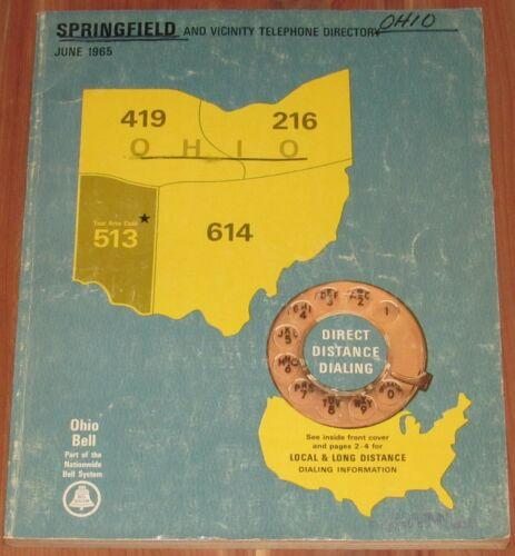 1965 OHIO TELEPHONE DIRECTORY, AREA CODE 513, SPRINGFIELD & VICINITY