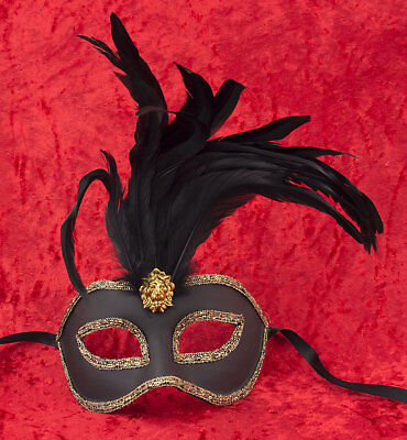 Mask Venice Colombine Toupet black Feathers braid golden Paper mache 22439