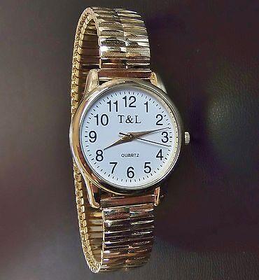 Quartz UHR Flexband Zug Armband Edelstahl gold Damenuhr Qualität geprüft NEUWARE