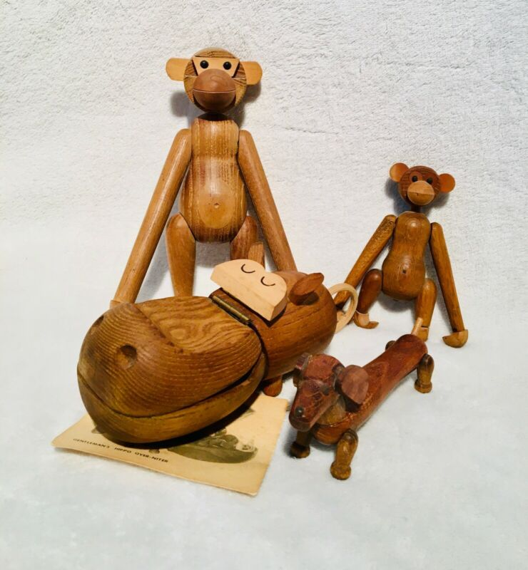 Lot of 4 Kay Bojesen Zoo Line Monkey Hippo Dog Carved Wood MCM Figurines Vtg