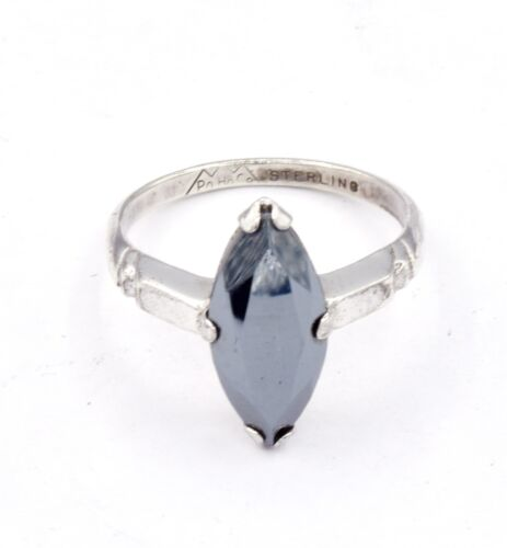 VTG Sterling Silver Hematite Marquise Cut Solitaire Cocktail Ring 6.25