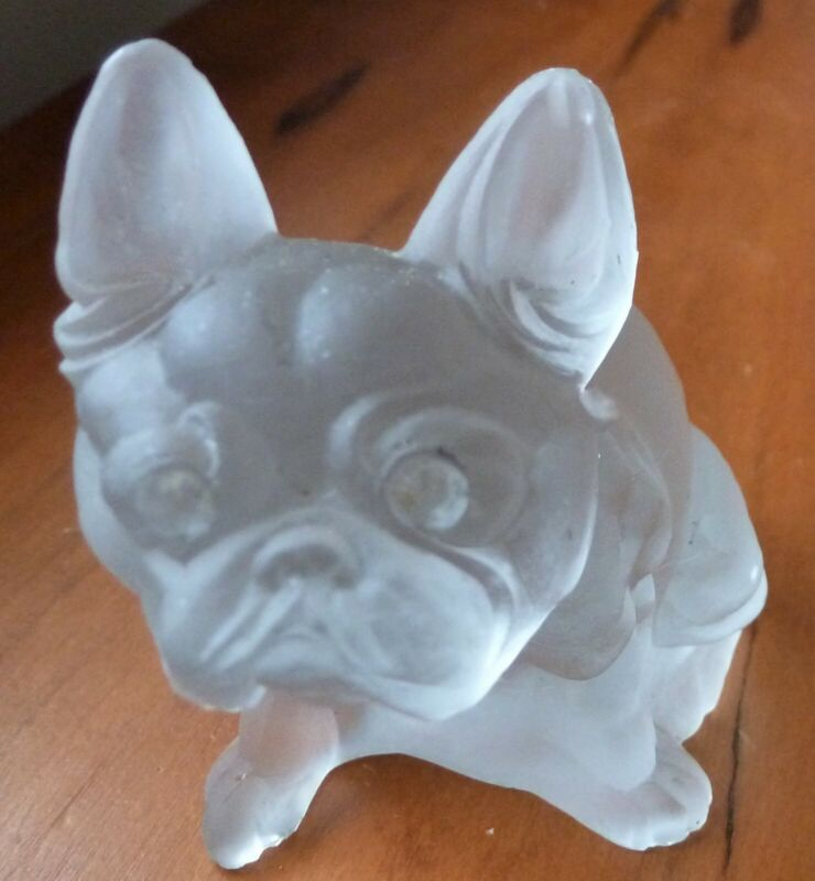 """Bulldog Figurine Opaque Frosted Glass 2 1/2"""""""