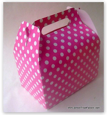 PINK WHITE POLKA HOT Party Supplies BOXES Birthday Decoration GABLE x12 DOTS - Pink Gable Boxes