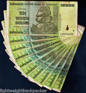 10 TRILLION ZIMBABWE DOLLARS x 10 BANK NOTES =100 TRILLION[AA/2008]FREE SHIPPING