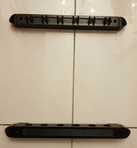 Pool /Snooker Cue Rack, Black Wooden Wall Mounted 2 Piece ,40cm 6 Cues