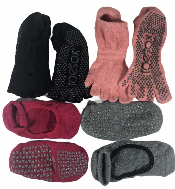 TOESOX Grip Workout Pink Black Pilates Lot Group 4 Pairs Offbrand