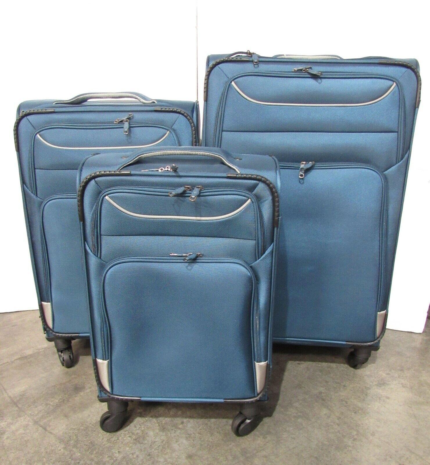 USED Coolife 3 Piece Softshell Suitcase Set Luggage TSA Lock 20 24 28 Blue A64 - $119.59