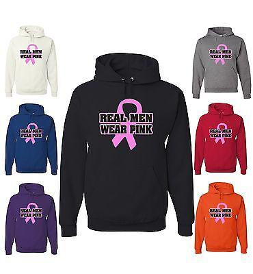 Real Men Wear Pink Hoodie Breast Cancer Awareness Sweatshirt Pink Ribbon (Awareness Sweatshirt)
