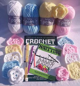 Beginners Crochet and knitting starter kit  Needles, hooks, 200 grams yarn books