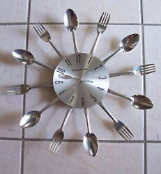 George Nelson Spoon Fork Starburst Sunburst Unique Silver Wall Clock Cutlery