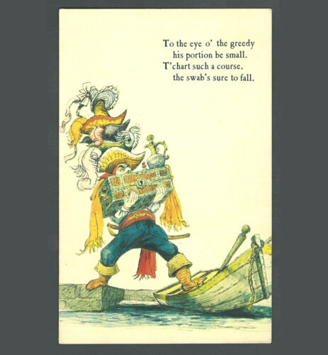 Disneyland Unused Vintage Postcard Pirates of the Caribbean 1966 Marc Davis Art