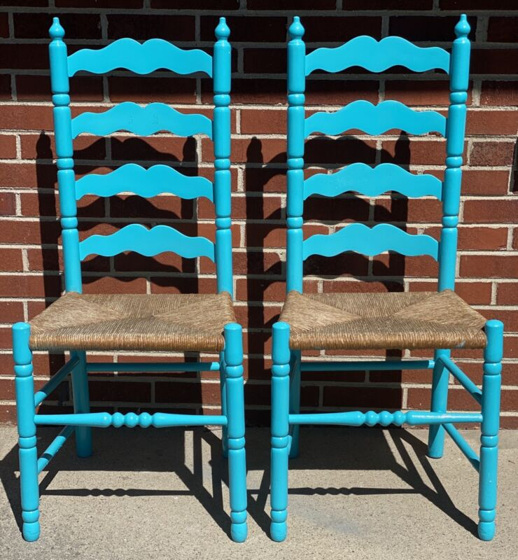 Two Vintage Wood Wicker Up cycled Chairs