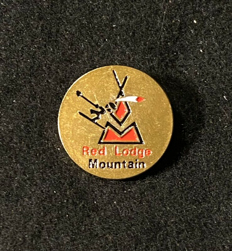 RED LODGE MOUNTAIN Vintage Skiing Ski Pin MONTANA Resort Souvenir Travel Lapel
