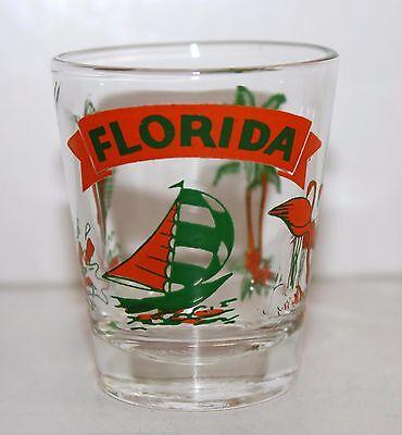 Space launch Glass FLORIDA (green & orange) sail boat, flamingo, palm trees,mariner fish