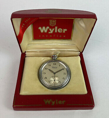 vintage WYLER INCAFLEX SWISS JEWELED THE SKIPPER POCKET WATCH mechanical analog