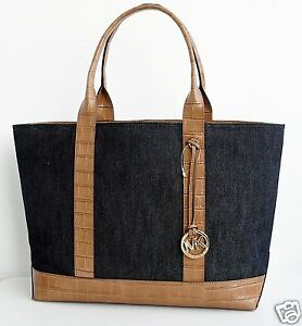 michael kors tasche bag shopper brianne tote leder canvas dark denim. Black Bedroom Furniture Sets. Home Design Ideas