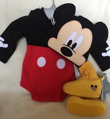 Disney Store Mickey Mouse Baby Costume Bodysuit & Ears Hat Plus Shoes/Slippers](Mickey Mouse Shoes Costume)