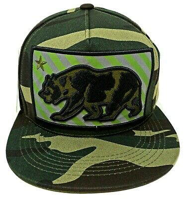 CALIFORNIA REPUBLIC Snapback Cap Hat Camouflage CALI Bear Green Camo NWT
