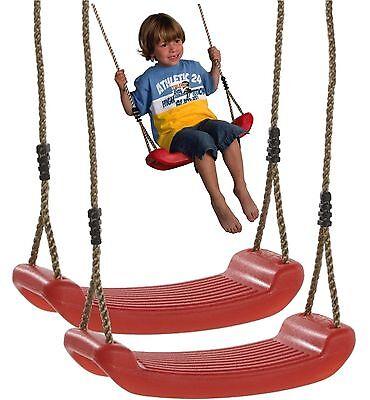 2er Set Kinderschaukel Brettschaukel Schaukelsitz aus Kunststoff Spielturm rot