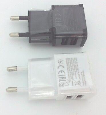 Mini  Dual 2A Netzteil mit 2x USB Stecker Steckdose Adapter 220V schwarz weiss Schwarz Dual Usb