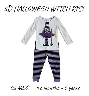 Marks And Spencer Halloween Baby (Girls Baby Halloween Witch PJs Pyjamas Pajamas Long Sleeves Gift)