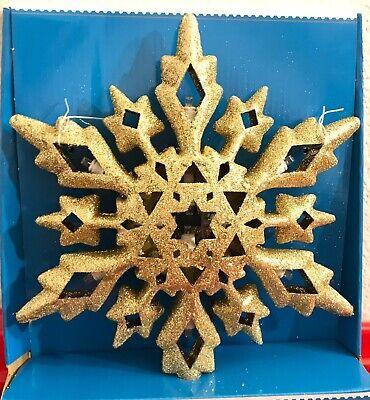"Christmas Tree Top Topper Gold Glitter Snowflake Star White Lights 10"""