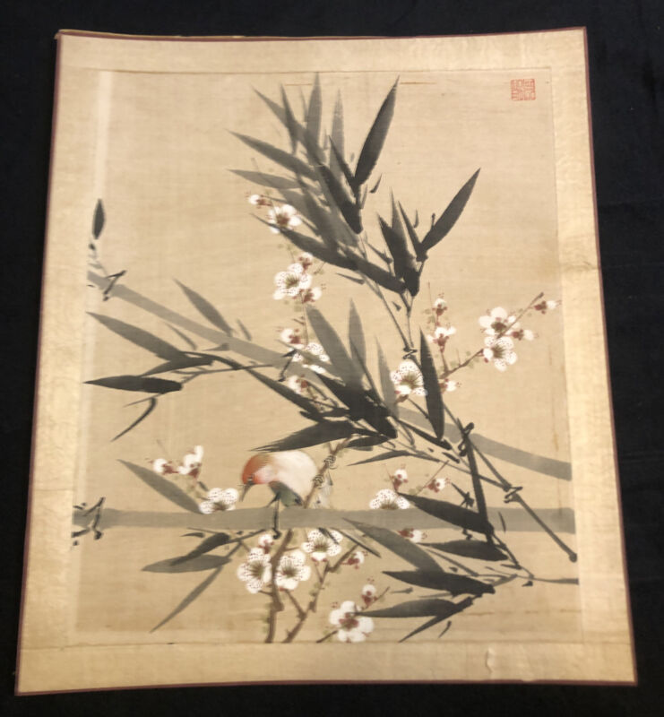 Vintage Asian Watercolor Ink Painting on Rice Paper Red Chop Seal Floral Bird