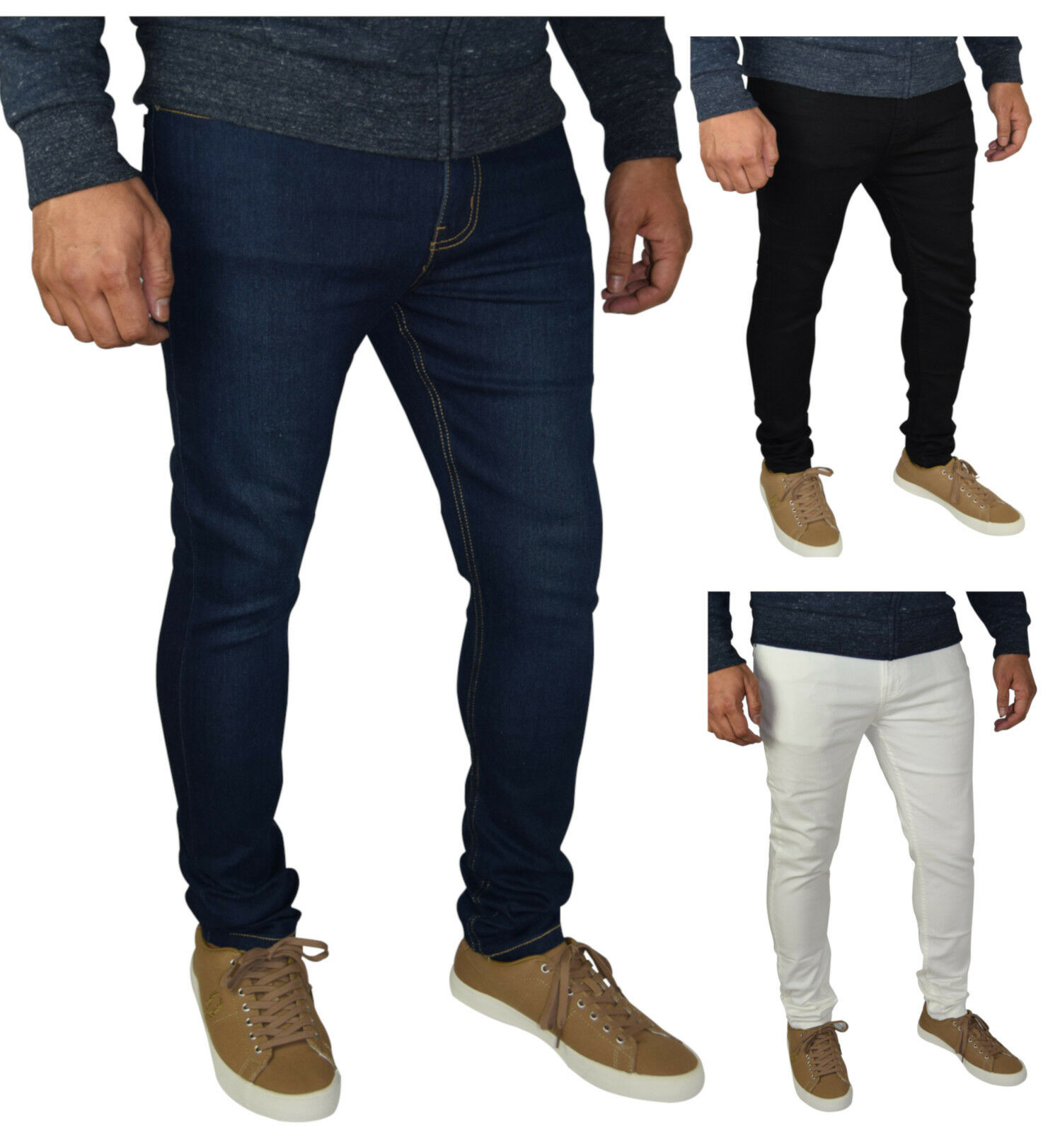 Mens Skinny Fit Super Stretch Jeans Clothing, Shoes & Accessories