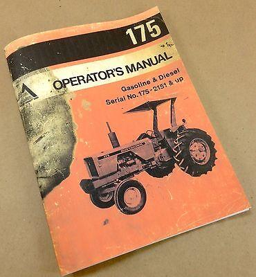 Allis Chalmers 175 Tractor Operators Owners Manual Gas Gasoline Diesel