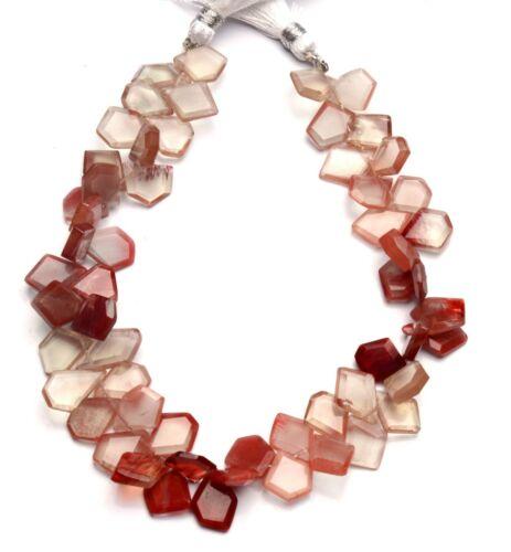 """Natural Gem Andesine Labradorite Faceted Slice Shape Beads 9"""" Strand 101Cts."""