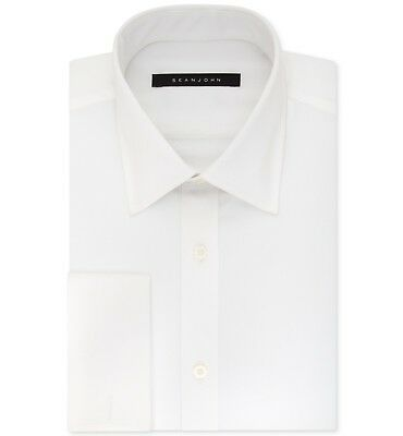 $90 SEAN JOHN Men's TAILORED-FIT WHITE FRENCH-CUFF BUTTON DRESS SHIRT 17.5 34/35