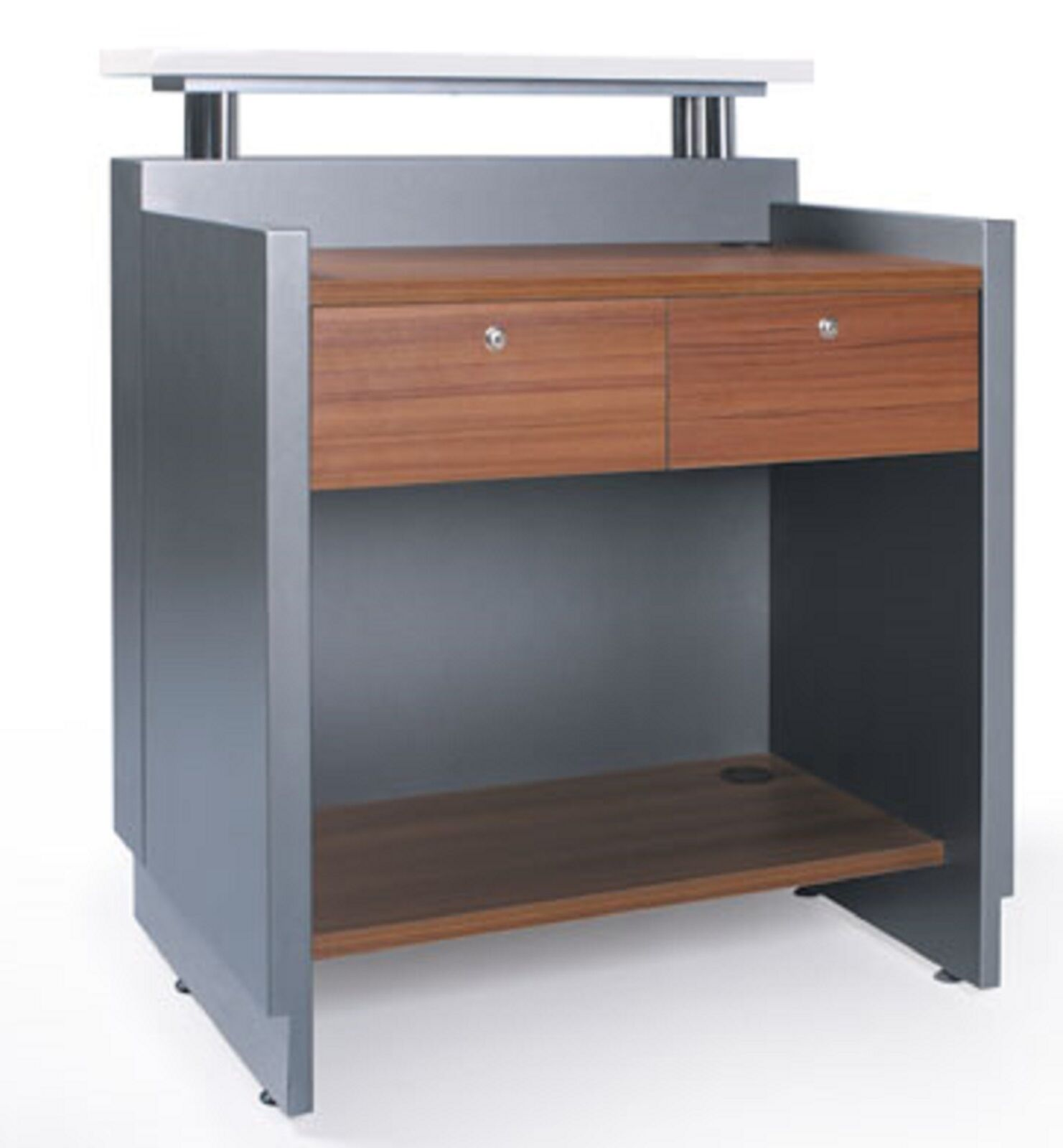 reception counter reception desk salon metallic grey office furniture