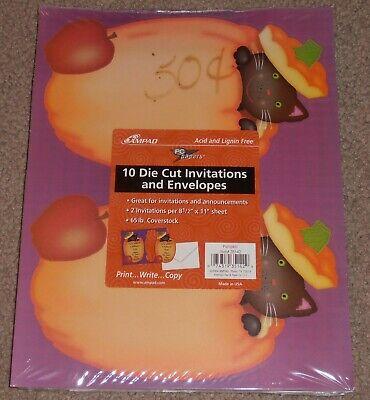 Printable Halloween Pumpkin (20 HALLOWEEN Printable Invitations & Envelopes AMPAD Pumpkin Black Cat Die)