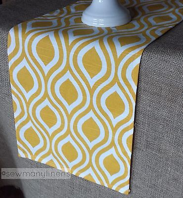 Yellow Table Runners (Yellow Table Runner Modern Geometric Dining Kitchen Home Decor Linen)