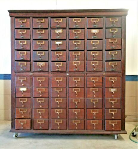 Antique Oak Library Card Catalog with Base