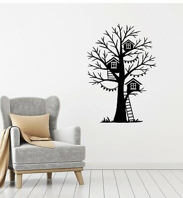 Vinyl Decal Wall Sticker Birdhouse Tree Stairs Decor for Kid