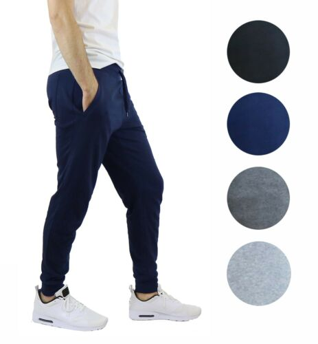 3 Pack Mens Jogger Pants Sweatpants Active Gym Lounge Sleep Slim Fit Nwt