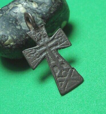 Ancient Bronze Cross Wearable Pendant Antique Rare C193