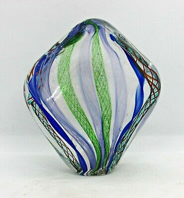 Wide Fan-Shaped Paper Weight w/ Streams of Vertical Latticino Covering Interior Cover Weight Paper