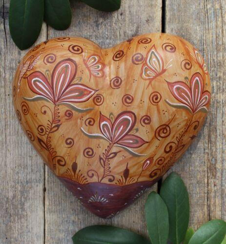 Lg Heart Butterfly Canelo Pottery Pablo Pajarito Handmade Tonala Mexico Folk Art