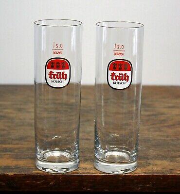 "Pair of Fruh Kolsch Beer Glasses. 0.2 liter. Germany. Rastal 6.25"" tall glass"