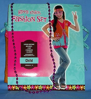 Hippie costume girls 8-10;Vest;Headband;glasses;beads;60s-70s Disco fashion set