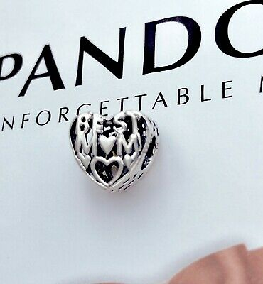 Authentic Pandora Silver 925 Love Best MOM  Charm Bead