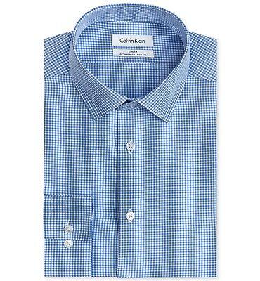 $99 CALVIN KLEIN Men SLIM-FIT WHITE BLUE LONG-SLEEVE DRESS SHIRT SIZE 16.5 32/33