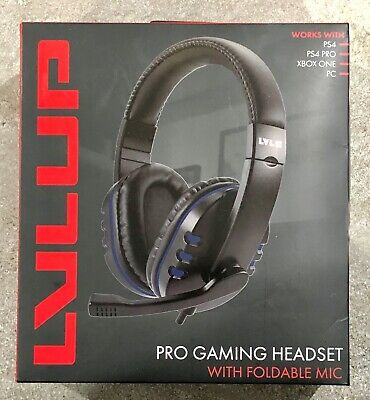 LVLUP Pro Gaming Headset with Foldable Mic - PS4, PS4 Pro, Xbox One & PC - NEW!