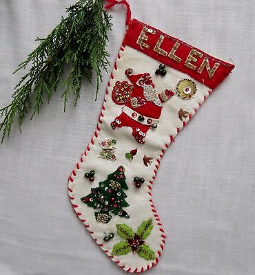 "Vtg ""ELLEN"" Felt & Sequin CHRISTMAS STOCKING Handmade SANTA & TREE Beaded CUTE!"