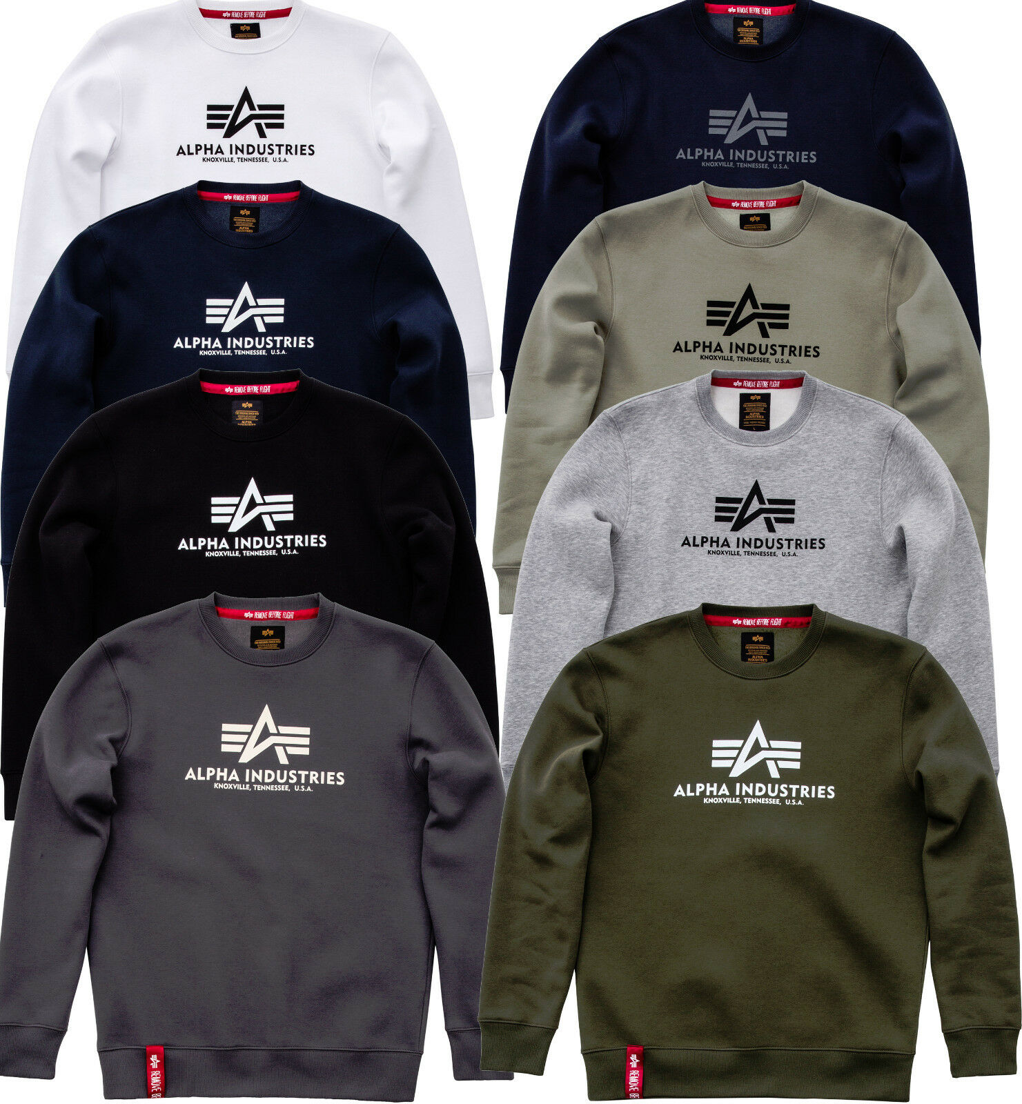 Alpha Industries Basic Pullover Sweater Black Navy White Olive Grey Pull Over